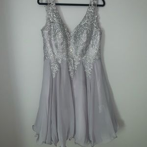 Gray Sparkling Homecoming Dress